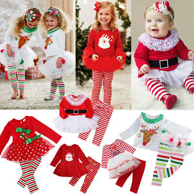 AU Christmas Toddler Kids Baby Girl Xmas Party Tutu Dress Outfit Costume Clothes