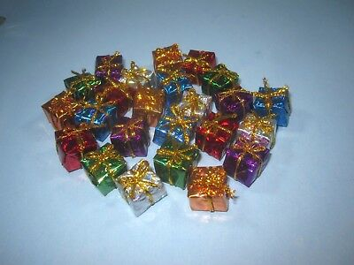 Miniature Holographic Foil Gift Boxes Dollhouse Christmas Presents 24 pc. 1/2""