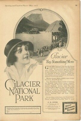 1917 Glacier National Park Travel Vacation St Paul Minnesota Lake Stone 18007