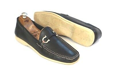d40eee82461 Salvatore Ferragamo Mens Blue Leather Gancini Moccasin Driving Shoes Size  11 D
