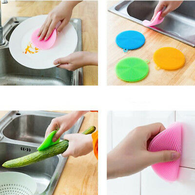 5pcs Multi-purpose Antibacterial Silicone Scrubber Dish Washing Sponge Brush New