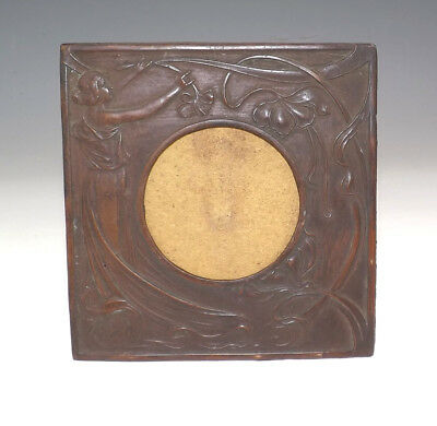 Antique Coppered Spelter - Embossed Art Nouveau Frame - Unusual!