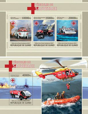 Rescue Emergency Transport Helicopters Boats Cars Vehicles Guinea MNH stamp set