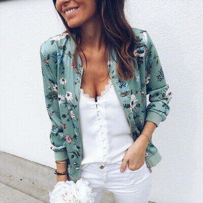 New Womens Retro Floral Zipper Up Bomber Jacket Ladies Casual Biker Outwear Coat