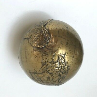 """Heavy, """"Gold Plated"""" Vintage Metal Globe (M10)"""