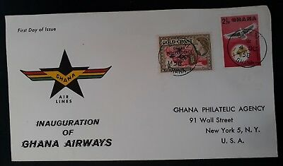 1958 Ghana Inauguration of Ghana Airways FDC ties 2 stamps canc bekwai