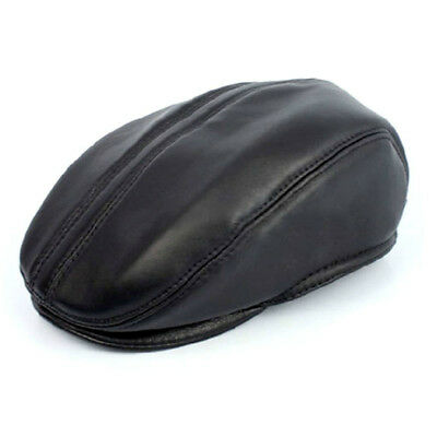 New Mens Pu Leather Winter Warm Outdoor Thick Peaked Cap Autumn Beret Casual