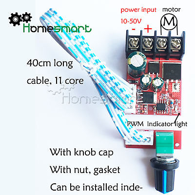 DC10V-50V 15A DC Motor Speed Control Board LED Dimmer High-Power Governor AHS