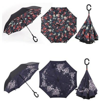 Windproof Double Layer Upside Down Inverted Umbrella C-handle Reverse-Design USA