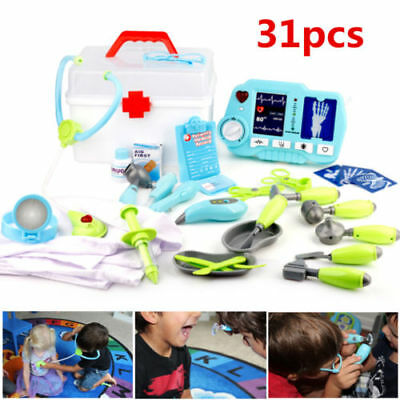 31pcs Kids Medical Role Play SET Pretend Doctor Nurses' Toy Heavy Duty Carrycase