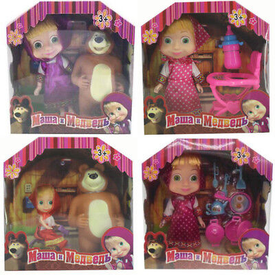 UK MASHA AND THE BEAR Cartoon Characters Kids Bears BB whistle sounds Toy Gifts