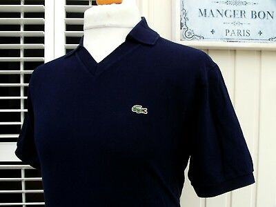 "Lacoste French Navy V-Neck Pique Polo Shirt - M/L - 40"" - Ska Mod Scooter Skins"