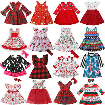 AU Toddler Infant Kid Baby Girl Christmas Lace Deer Princess Party Dress Clothes