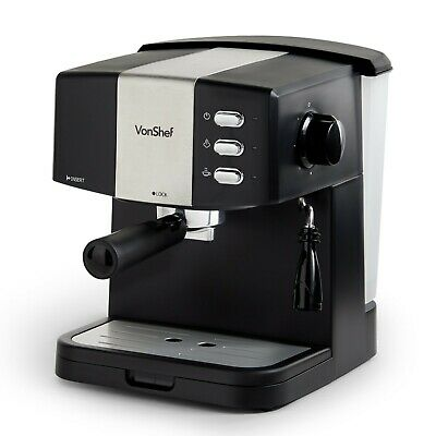VonShef Espresso Coffee Machine Maker 15 Bar Cappuccino Latte Barista 850W