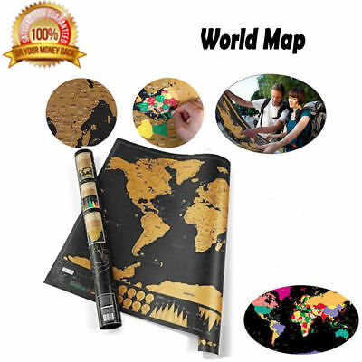 Hot Deluxe Scratch Off World Map Poster Journal Log Giant Map Of The World + Box