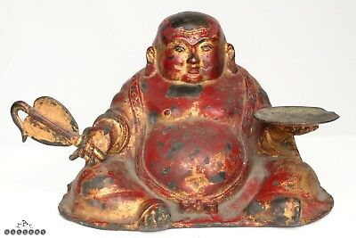 Antique Chinese Gilt & Lacquer Bronze Buddha Qing Dynasty