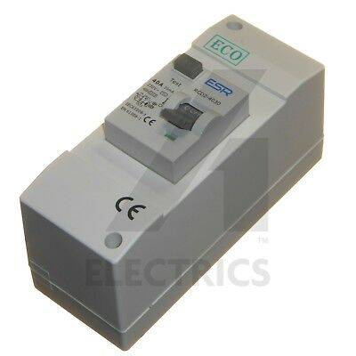 40 Amp 30mA Enclosed RCD Double Pole 230V 6kA Ideal for Shower Garage 40A Switch
