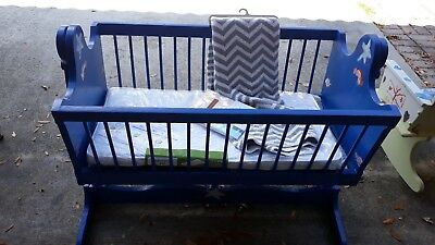 Hand Painted full size vintage baby cradle solid wood in great condition
