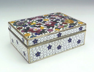 Antique Ando Japanese Cloisonne - Oriental Flower Decorated Lidded Box - Lovely!