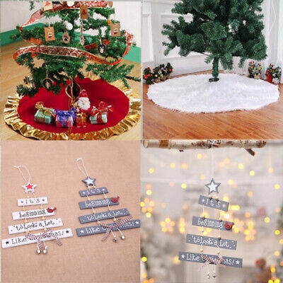 Christmas Tree Hanging Store Door Ornament Xmas Decoration Mat Cover Skirt Cards