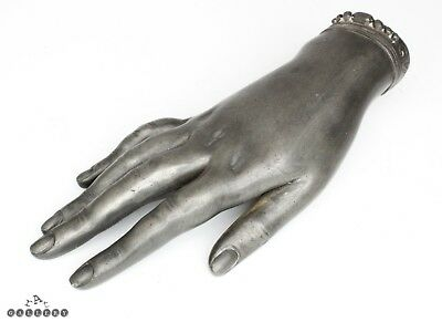 Victorian Lifesize Pewter Lady's Hand Posy Wall Vase c.1880