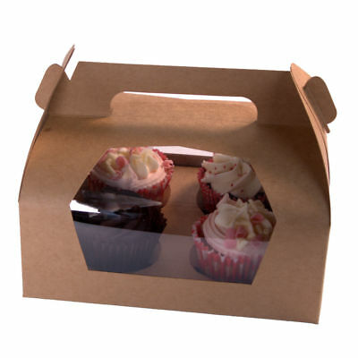 Cupcake Box Holder Brown Kraft Cardboard - Holds 4 Cup Cakes, Doughnuts, Muffins