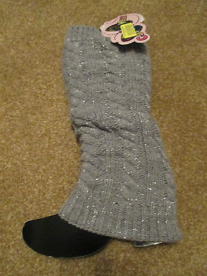 Copper Key Girls One Size Gray Leg Warmers Boot Covers BNWT