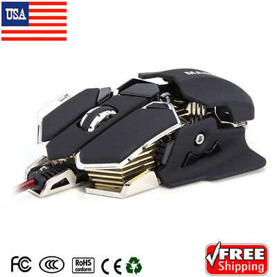 Gaming Mouse 10 Buttons 4800 DPI PC Mice LED USB Optical Wired Programmable