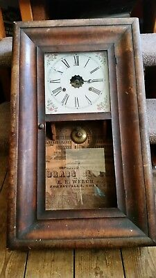 Antique E N Welch American 30 Hour Ogee Wall Clock For Spares Or Repair...
