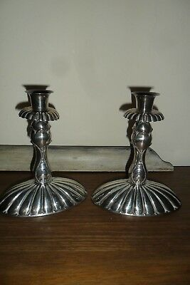 Very Unusual Pair of Art Nouveau Silver Plated Candle Sticks - Heavy.