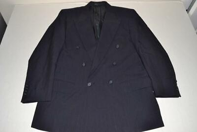 Burberry London Navy Blue Double Breasted Blazer Jacket Mens Size 42R