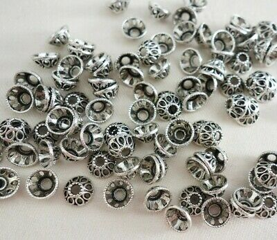 50 Antique Silver Coloured 7mm x 4mm Bead Caps #bc0127 Jewellery Making Findings
