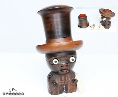Antique Japanese Wooden Articulated Kobe Toy Dice Shaker & Dice