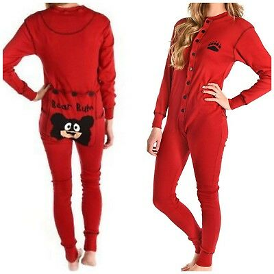 NWT Lazy One Pajamas Red One Piece Long Johns Adult Small UNISEX Bear Bum Flap