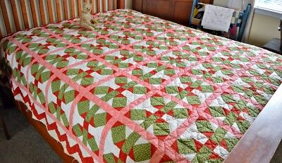 Antique Hand Stitched 19th Century Shoo Fly / Ladies Delight Variation Quilt