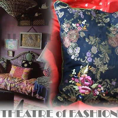Cushion Pillow Velvet Victorian Vintage Hand Embroidered Boho Antique Home Gypsy