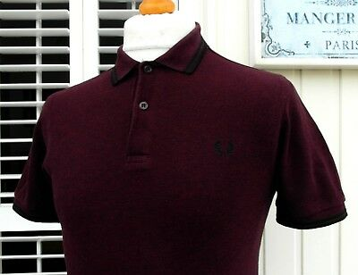 """Fred Perry Twisted Port Marl Slim Fit Polo Shirt - XS/S - 36"""" - Ska Mod Scooter"""