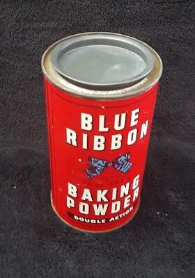 """Vintage BLUE RIBBON BAKING POWDER Double Action Tin/Can Empty 5.5"""" red"""