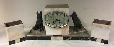 Marble / Onyx Mantle Clock & Garnitures - German Shepard - Spares / Restoration