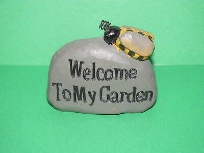 """New Fairy Garden Miniature """"welcome To My Garden"""" Rock With Bumble Bee"""