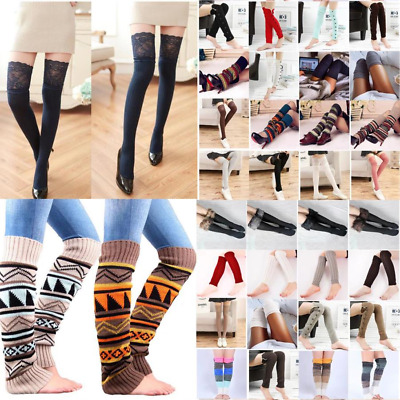 Womens Girls Warm Leg Warmers Knitted Crochet Long Boot Socks Slouch Gift US