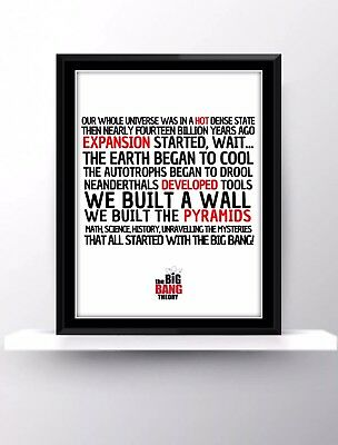 The Big Bang Theory Tv Show Series Quote Fan Theme Song Gift Present Sheldon