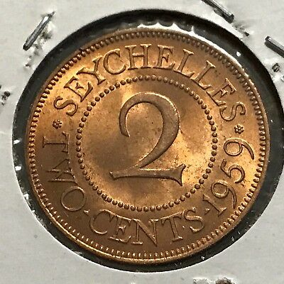 1959 Seychelles 2 Cents Brilliant Uncirculated Bronze Coin