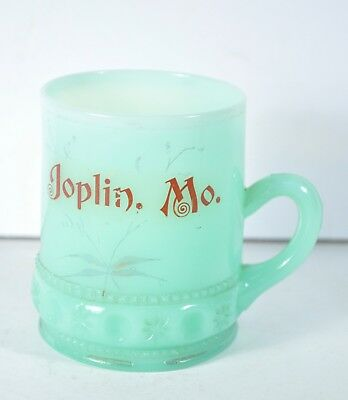 Vintage Souvenir Coffee Mug Joplin MO Hand Painted Glass Green Custard Fancy