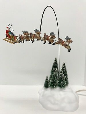 Dept. 56 UP,UP & AWAY ANIMATED REINDEER & SLEIGH w/ Box ~ For Parts or Repair