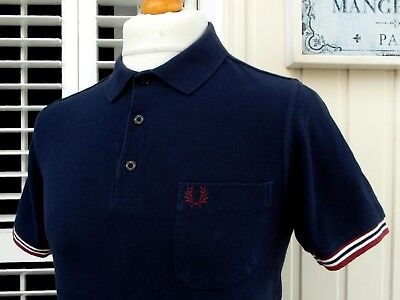 """Fred Perry Navy Bomber Cuff Slim Fit Polo - S/M - 38"""" - Mod Ska Scooter Casuals"""