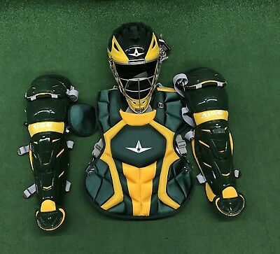 All Star System 7 Axis Youth 10-12 Catchers Gear Set - Dark Green Yellow