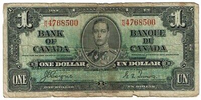 1937 $1 One Dollar Bank of Canada Circulated Paper Money UN Note Canadian Crease