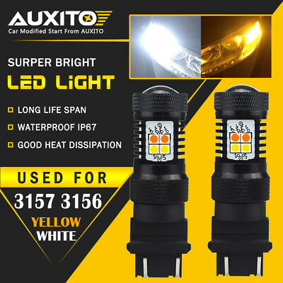 2X AUXITO 3157 LED Switchback Dual Color White Yellow amber Turn Signal Light EA