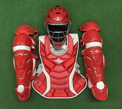 All Star Vela Adult Fastpitch Softball Catchers Gear Set - Red